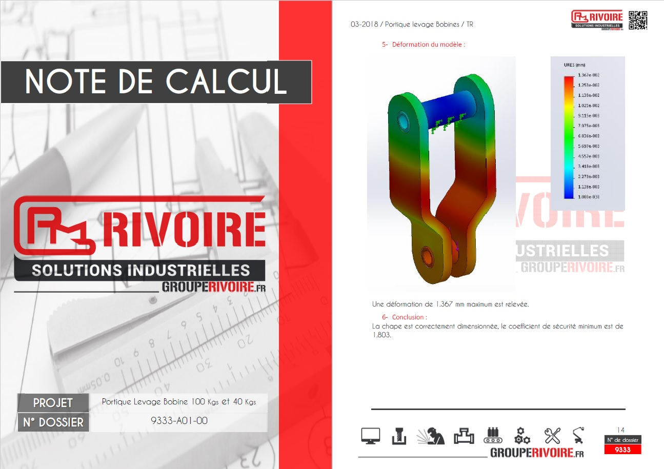 Note de calcul portique levage bobine